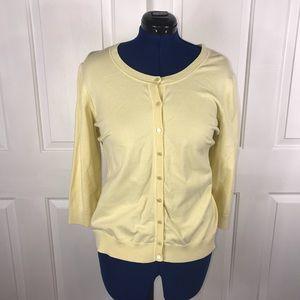 Talbots 3X Pima cotton pastel yellow cardigan